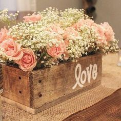 Rustic Planter--could make these and fill with purple flowers #churchweddingdecorations #weddingideas