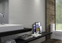 Banheiro - #ceramicaportinari. Bathrooms - Baños, banho, banheiro. Produto Cerâmica Portinari, Favo Wh 30x60.