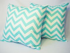2 Chevron Decorative Pillow Covers Teal and by CastawayCoveDecor, $32.00