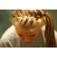 french braided side pony cute for school with ribbon
