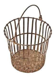nicely worn and weathered lightweight american depression era reinforced slatted steel portable basket with oversized bent metal rod drop handle