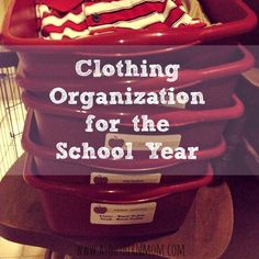 A Clothing Organization Idea for Back to School Use the bin system to organize your kids school clothing this year. You won't regret it! I love this simple and easy approach to organization! Our mornings are so much easier! School Organization, Organization Hacks, Clothing Organization, Cleaners Homemade, My New Room, Craft Activities, Kids House, Mom Blogs, School Clothing
