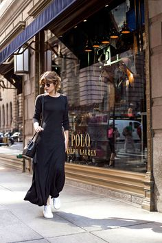 Invest in a great simple black maxi you can wear anywhere and with whatever shoes make sense for the occasion.   TCOH: A day in New York with Polo Ralph Lauren