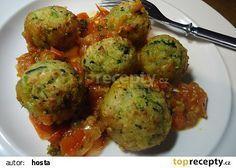 Cuketové kuličky v omáčce Marinara recept - TopRecepty.cz Pumpkin Squash, Vegan Recipes, Cooking Recipes, Good Food, Yummy Food, Cooking Light, Bon Appetit, Cauliflower, Zucchini