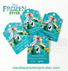 Frozen Fever Thank you Tags Frozen Fever by ClaudiaPartyDesigns