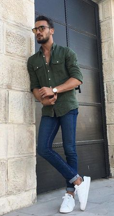 Fashionable men's spring outfit that you will love - Mode Outfit Hombre Casual, Casual Outfits, Men Casual, Casual Shirt, Smart Casual, Mode Masculine, Summer Outfits Men, Spring Outfits, Summer Men