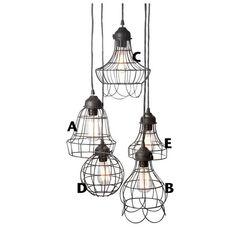 Loft style rustic wire cage industrial pendant light door TudoandCo