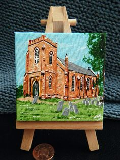St Mary's Bransgore acrylic mini canvas