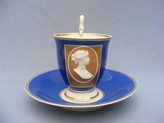 RARE 19c GERMAN KPM BERLIN PORTRAIT CAMEO FOOTED CUP & SAUCER SNAKE HANDLE c1830