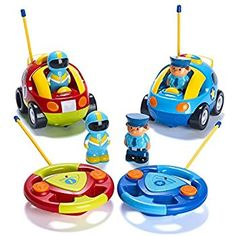 This double pack of racing cars are a great introduction to RC cars. Gifts for 3 year olds. Prextex Pack of 2 Cartoon R/C Police Car and Race Car Radio Control Toys for Kids- Each with Different Frequencies So Both Can Race Together: Amazon.co.uk: Toys & Games