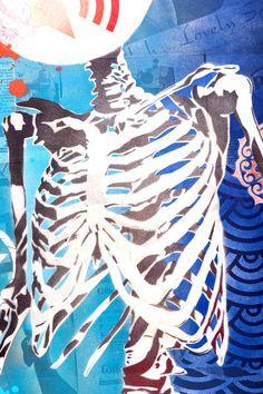 Human Skeleton by Brad Novak Human Skeleton, Year 9, Detailed Image, Printmaking, Graphic Art, Stencils, Graffiti, Tie Dye, Anatomy