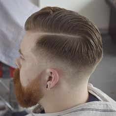 Barber - The Folsom Barber Club - Birmingham UK - - 07585337270 -. Mens Haircut Shaved Sides, Fade Haircut, Corte Hipster, Men's Grooming, Long Hair Fade, Cameron Hair, Mens Summer Hairstyles, Gentleman Haircut, Comb Over Fade