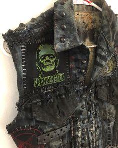 Distressed denim vest from Chad Cherry Clothing. Horror vest. Frankenstein vest. Studded vest. Classic horror vest.