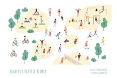 Group of people performing sports activities at park - doing yoga and gymnastics exercises, jogging, riding bicycles, playing ball game and tennis. People Illustration, Illustrations, Graphic Illustration, Graphic Art, Sport Park, Different Sports, Outdoor Workouts, Sports Activities, Sports Equipment