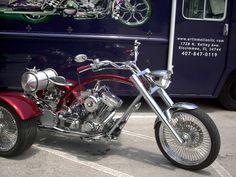 Custom Chopper Trike built at Art In Motion LLC in Kissimmee, Florida Custom Moped, Custom Trikes, Custom Choppers, Chopper Motorcycle, Motorcycle Style, Trike Kits, Triumph Chopper, Vintage Bikes, Sidecar