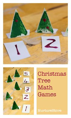 Christmas tree math activities for preschool :: Christmas math center :: Christmas tree counting game