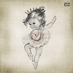 Vintage Baby Girl Princess Ballerina LARGE Digital Vintage Image Download Sheet Transfer To Totes Pillows Tea Towels T-Shirts. $2.00, via Etsy.