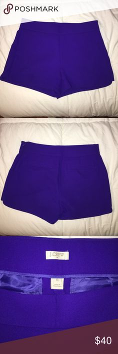 J Crew shorts size 0, barely worn. Purple J Crew shorts, size 0, barely worn. Has back lined pockets and zips on the side. J. Crew Shorts