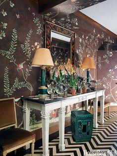 Green garden stool and lamps. Design: Miles Redd. housebeautiful.com. #green #emerald