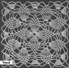 Totally Free Crochet Pattern Blog - Patterns: Pineapple Lace Cloth Square Motif 742 Crochet Pattern