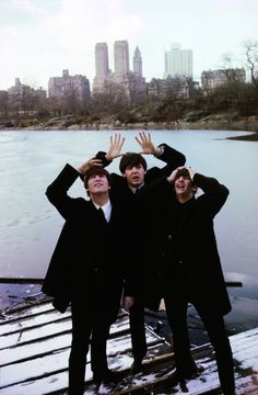 John Lennon, Paul McCartney, and Ringo Starr in Central Park, February 1964.    Photo by Ken Regan.