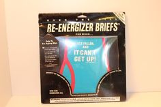 1991 LAID BACK OVER THE HILL RE-ENERGIZER BRIEFS - WHIMSICAL GIFT Teal Red Black