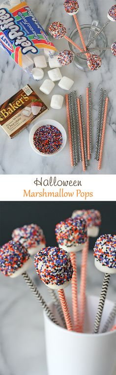 These Halloween Marshmallow Pops are so simple to make, yet still so cute!!