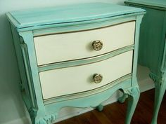 These night stands were painted in Provence mixed with Old White. The drawers are Old White and there is a bit of gilding.