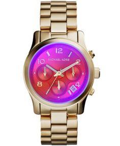 Michael Kors Women's Chronograph Runway Gold-Tone Stainless Steel Bracelet Watch 38mm MK5939