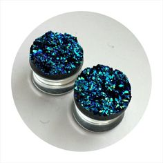 Hey, I found this really awesome Etsy listing at https://www.etsy.com/listing/226404714/blue-glitter-plugs-faux-druzy-plugs-blue