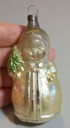 Antique Glass Christmas Tree Ornament, Toddler Holding Pine Tree