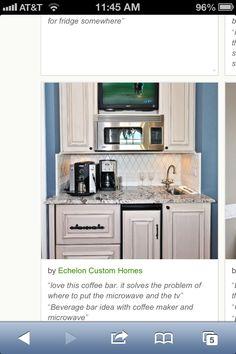 Kitchen Minibar Design, Pictures, Remodel, Decor and Ideas Mini Kitchen, New Kitchen, Kitchen Nook, Kitchen Small, Kitchen Ideas, Kitchen Storage, Microwave Storage, Microwave Cabinet, Kitchen Sideboard