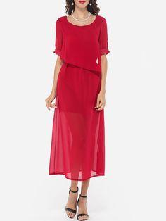 Bowknot Round Neck Chiffon Hollow Out Plain Maxi-dress - fashionme.com