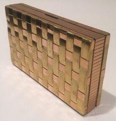 Evans Vintage Art Deco Clutch Make Up Compact Mirror Cigarette Case 2 Tone | eBay