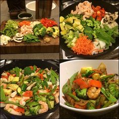 Cast Iron Stir Fry  Super healthy, low carb and quick  1⃣ boatload of veggies: celery, red peppers, carrots, mushrooms, asparagus, jicama, snow peas, squash, zucchini, onions, broccoli, shrimp and minced garlic 2⃣ line pan with coconut or olive oil and throw in all the ingredients (my shrimp was precooked) 3⃣ cook on medium high and stir every minute or so 4⃣ takes about 15 minutes  With so many vegetables, there's no need for a starch. Add Bragg's Amino Acids for a little more flavor but…