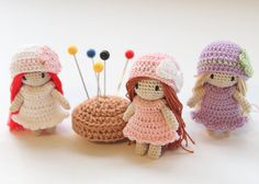 "Miniature Crochet Doll ""Malka Doll"": 1.5 inches, Waldorf inspired, amigurumi, doll house, crochet, handmade"