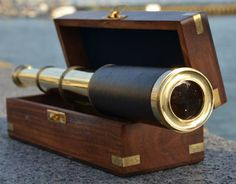 Nauticalmart Handheld Brass And Black Leather Pirate Navigation Telescope with Wooden Box The perfect gift for the nautical explorer, this telescope is a fully functioning nautical masterpiece that adds class and sophistication to any room. Nautical Gifts, Nautical Home, Nautical Wedding, Seaside Decor, Coastal Decor, Science Supplies, Beach Cottage Style, Beach House, Reno
