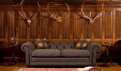 Orkney chesterfield sofa in Harris Tweed - High Quality, Hand Crafted Leather Sofas: Darlings of Chelsea