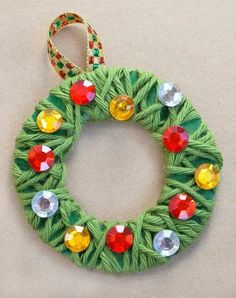 christmas crafts for kids to make ornament crafts for kids Yarn Wrapped Christmas Wreath Ornaments Childrens Christmas Crafts, Christmas Gifts For Parents, Christmas Crafts To Make, Christmas Crafts For Kids To Make, Christmas Ornament Crafts, Kids Christmas, Handmade Christmas, Holiday Crafts, Simple Christmas Gifts