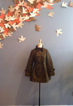 Black & Yellow Print Double Breasted Coat by Pura Vida $98.00