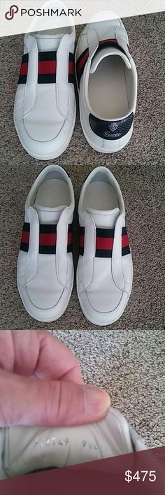 7c5beff9ac1 Gucci Sneakers for Men White with blue and red gucci signature stripes.  Previously worn a