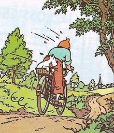 Tintin by bike Fox Terriers, Illustrations, Book Illustration, Haddock Tintin, Captain Haddock, Herge Tintin, Comic Art, Comic Books, Ligne Claire