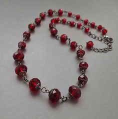 Cherry red crystal glass sparkling necklace .. elegant glam bridal prom bead jewellery