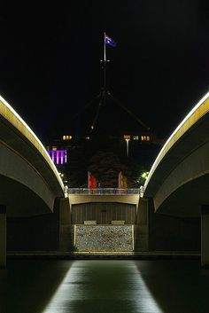 Lake Burley Griffin bridge at night - Canberra