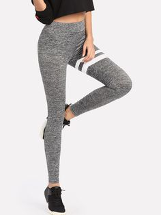 Shop Stripe Print Marled Knit Leggings online. SheIn offers Stripe Print  Marled Knit Leggings   d45012507d3
