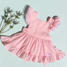 "Baby Pink Batiste ""Fern"" Pinafore with Bloomers Vintage baby girl toddler inspired reproduction chiffon lawn lace ruffle cupcake poodle circle skirt Sunshine clothing handmade heirloom 1950 retro keepsake"