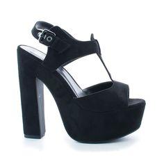 Lucille Black By Speed Limit 98, T-Strap Peep Toe Chunky Platform Block Heel Pumps