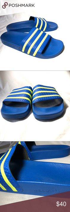 635d77d82529c1 Adidas adilette Slide size 13 Blue Neon sandals This is a worn once pair of  Adidas
