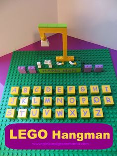 Pink and Green Mama: Fun With Legos: DIY Lego Hangman  http://pinkandgreenmama.blogspot.com/2013/07/fun-with-legos-diy-lego-hangman.html#.VOln0S466SR