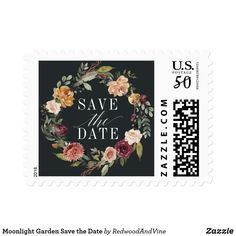"""Moonlight Garden Save the Date Postage Elegant floral save the date postage stamps feature a wreath of watercolor flowers in rich autumn shades burgundy, marsala, blush and ivory accented with green botanical foliage, surrounding """"save the date"""" in block and calligraphy lettering. A perfect custom finishing touch for your save the date cards. Designed to match our Moonlight Garden invitation collection."""